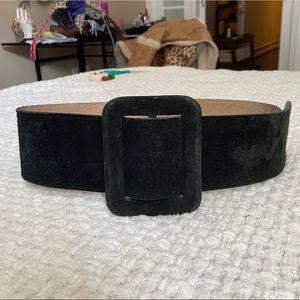 Black Vintage Suede Chunky Belt